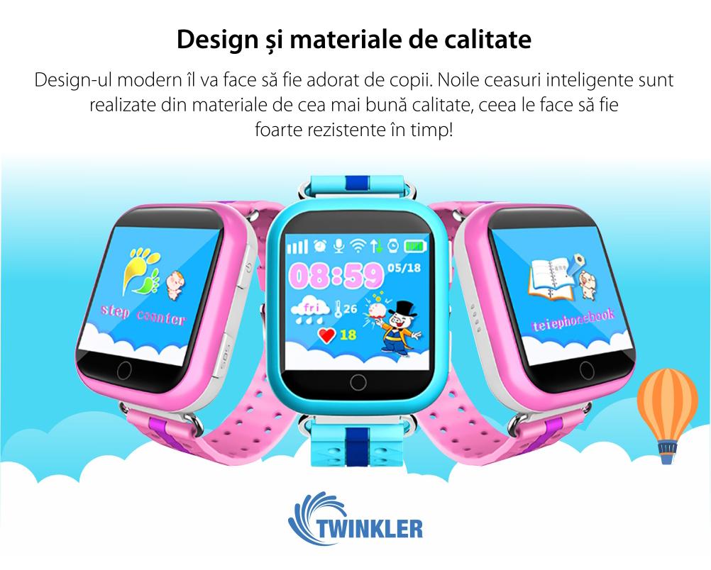 Ceas Smartwatch Pentru Copii Twinkler TKY-Q100 cu Functie Telefon, Localizare GPS, Pedometru, SOS – Roz