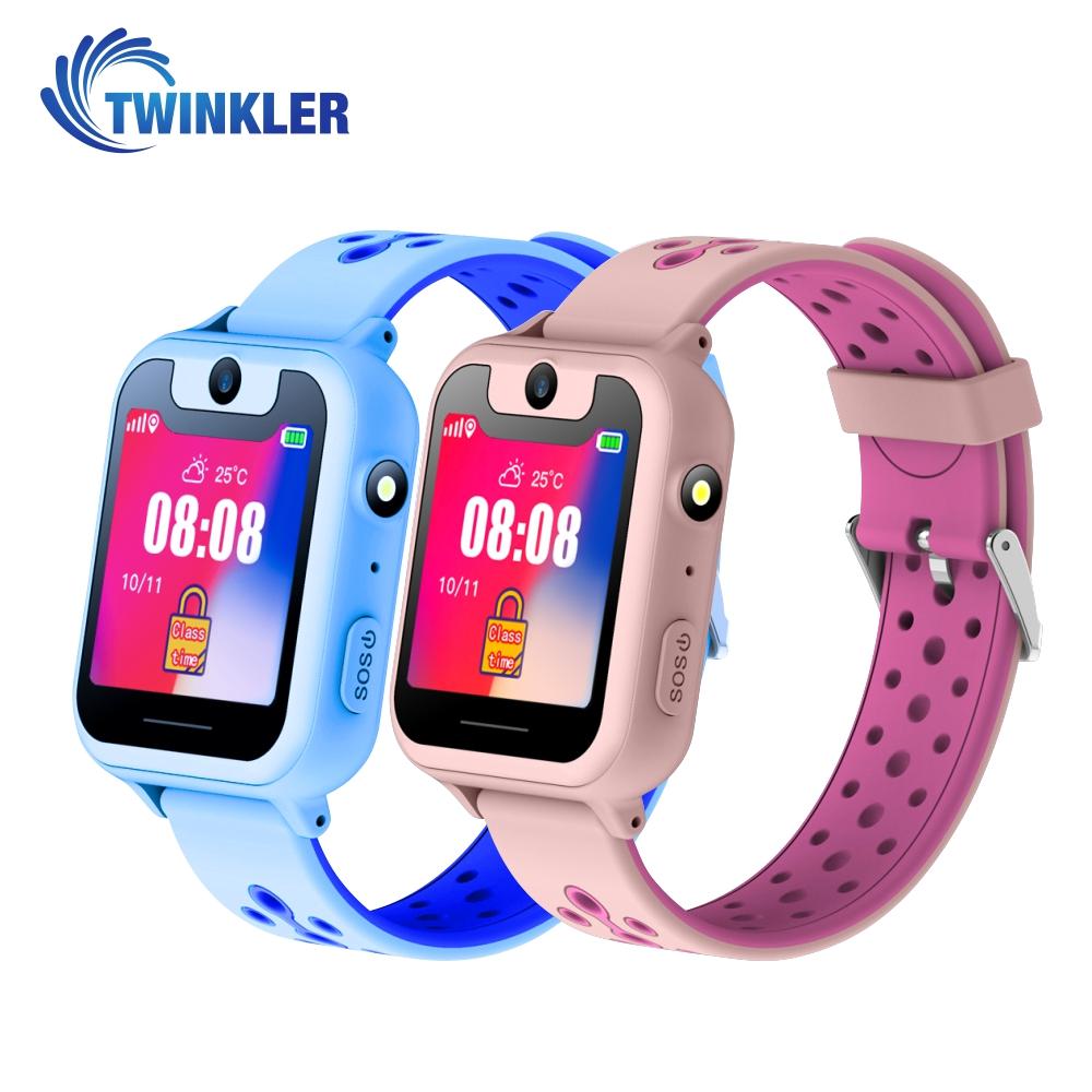 Pachet Promotional 2 Smartwatch-uri Pentru Copii Twinkler TKY-S6 cu Functie Telefon, Localizare GPS, Camera, Lanterna, Pedometru, SOS, Joc Matematic – Roz + Albastru, Cartela SIM Cadou imagine