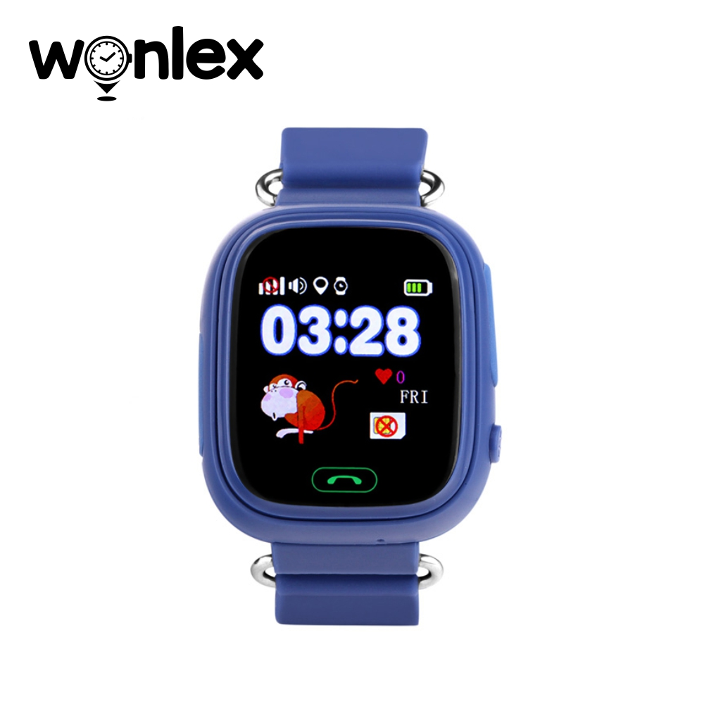 Ceas Smartwatch Pentru Copii Wonlex GW100 cu Functie Telefon, Localizare GPS, Pedometru, SOS – Albastru, Cartela SIM Cadou imagine