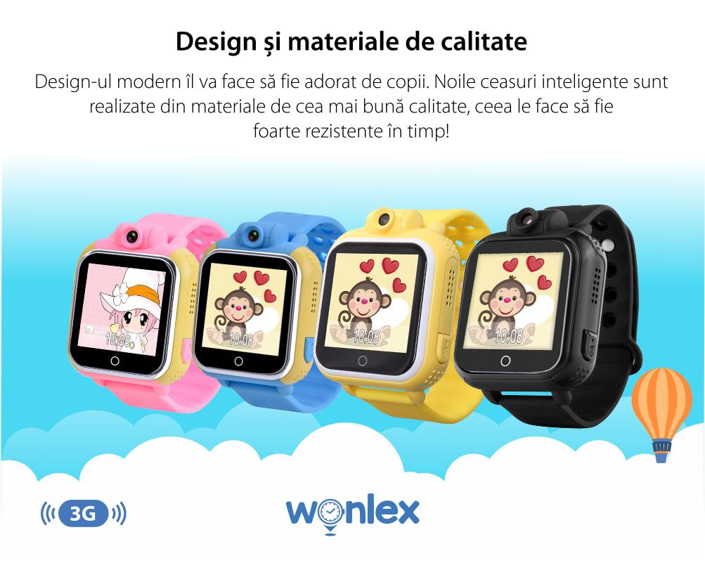 Pachet Promotional 2 Smartwatch-uri Pentru Copii Wonlex GW1000 cu Functie Telefon, Localizare GPS, Camera, 3G, Pedometru, SOS, Android – Roz + Albastru, Cartela SIM Cadou