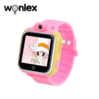 Ceas Smartwatch Pentru Copii Wonlex GW1000 cu Functie Telefon, Localizare GPS, Camera, 3G, Pedometru, SOS, Android – Roz, Cartela SIM Cadou