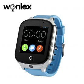 Ceas Smartwatch Wonlex GW1000S cu Functie Telefon, Localizare GPS, Camera, 3G, Pedometru, SOS, Android – Albastru, Cartela SIM Cadou