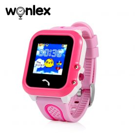 Ceas Smartwatch Pentru Copii Wonlex GW400E cu Functie Telefon, Localizare GPS, Pedometru, SOS, IP54 – Roz, Cartela SIM Cadou