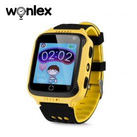 Ceas Smartwatch Pentru Copii Wonlex GW500s cu Functie Telefon, Localizare GPS, Camera, Lanterna, Pedometru, SOS – Galben, Cartela SIM Cadou