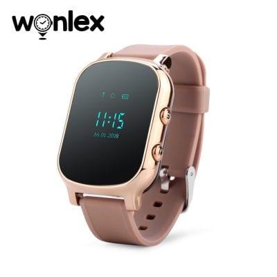 Ceas Smartwatch Pentru Copii Wonlex GW700-T58 cu Functie Telefon, Localizare GPS – Auriu, Cartela SIM Cadou