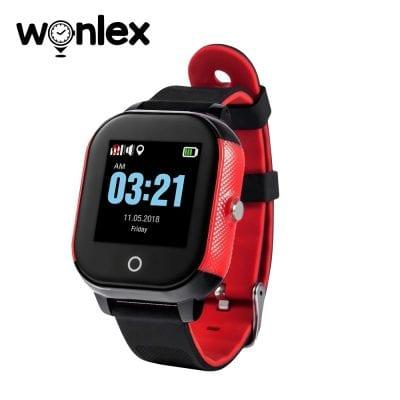 Ceas Smartwatch Pentru Copii Wonlex GW700S cu Functie Telefon, Localizare GPS, Pedometru, SOS, IP54 – Rosu-Negru, Cartela SIM Cadou