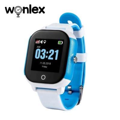 Ceas Smartwatch Pentru Copii Wonlex GW700S cu Functie Telefon, Localizare GPS, Pedometru, SOS, IP54 – Alb-Albastru, Cartela SIM Cadou