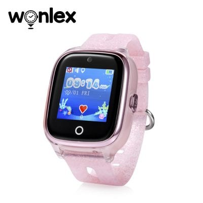 Ceas Smartwatch Pentru Copii Wonlex KT01 cu Functie Telefon, Localizare GPS, Camera, Pedometru, SOS, IP54 – Roz Pal, Cartela SIM Cadou