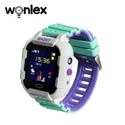 Ceas Smartwatch Pentru Copii Wonlex KT03 cu Functie Telefon, Localizare GPS, Camera, Pedometru, SOS, IP54 – Alb – Verde, Cartela SIM Cadou