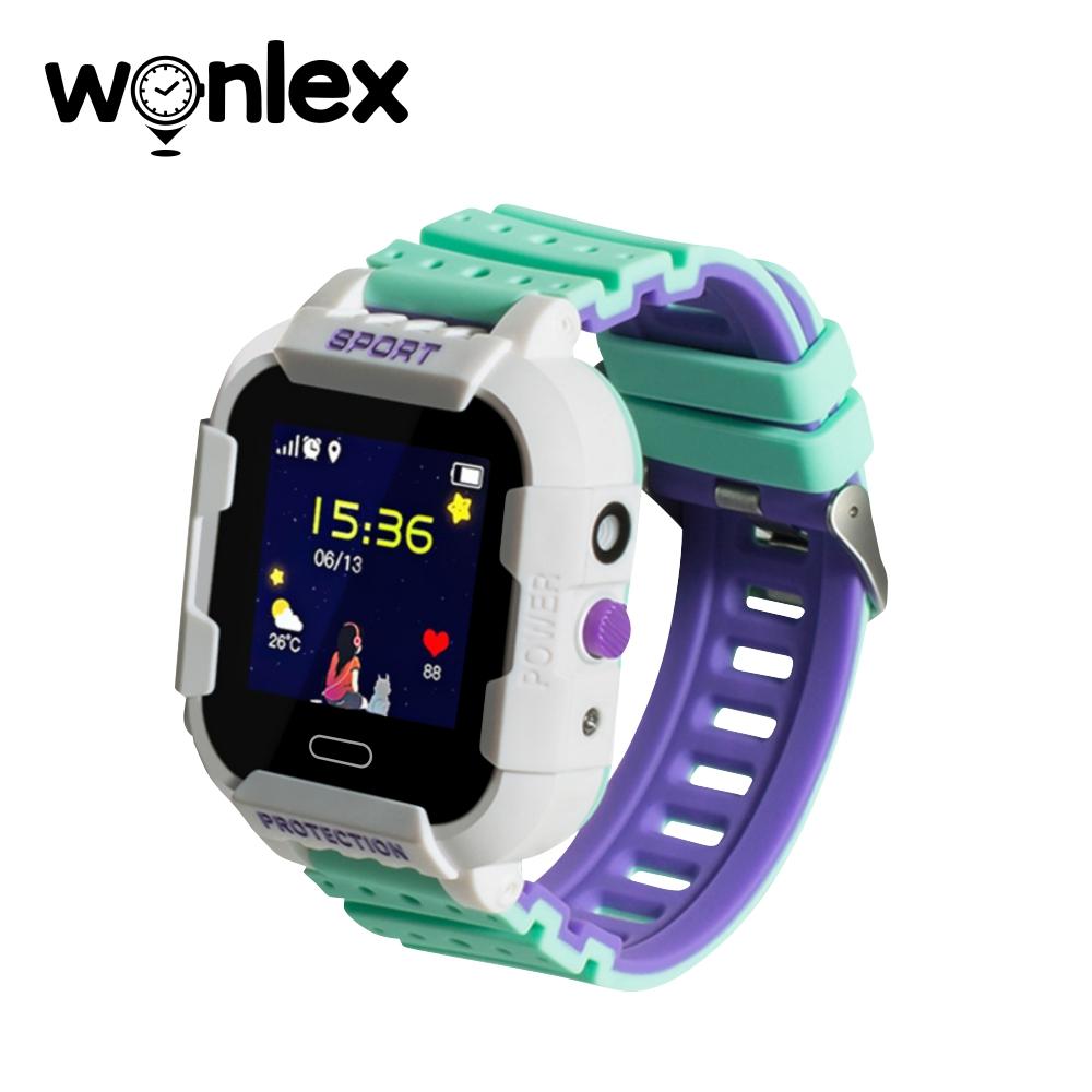 Ceas Smartwatch Pentru Copii Wonlex KT03 cu Functie Telefon, Localizare GPS, Camera, Pedometru, SOS, IP54 – Alb – Verde, Cartela SIM Cadou imagine