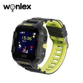 Ceas Smartwatch Pentru Copii Wonlex KT03 cu Functie Telefon, Localizare GPS, Camera, Pedometru, SOS, IP54 – Negru – Verde Lamaie, Cartela SIM Cadou