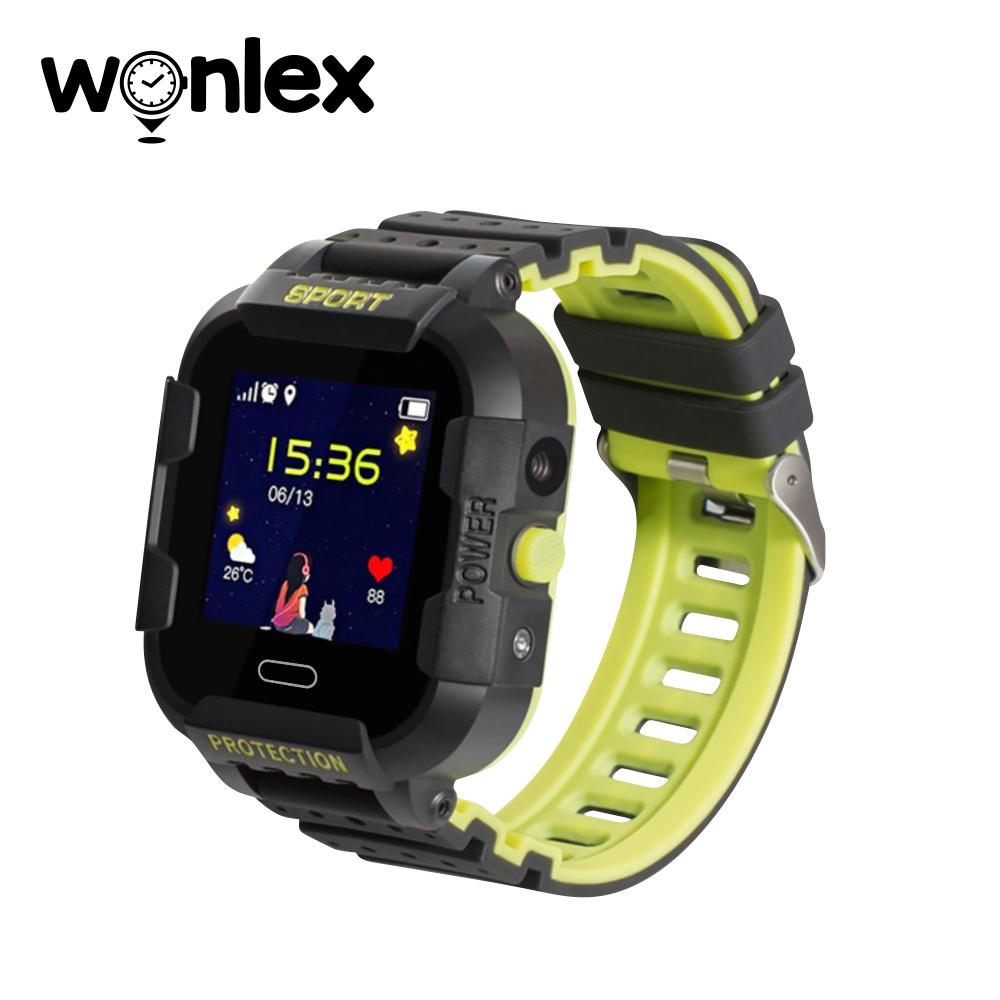 Ceas Smartwatch Pentru Copii Wonlex KT03 cu Functie Telefon, Localizare GPS, Camera, Pedometru, SOS, IP54 – Negru – Verde Lamaie, Cartela SIM Cadou imagine