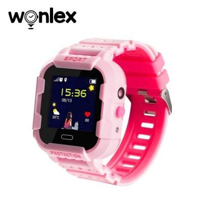 Ceas Smartwatch Pentru Copii Wonlex KT03 cu Functie Telefon, Localizare GPS, Camera, Pedometru, SOS, IP54 – Roz, Cartela SIM Cadou