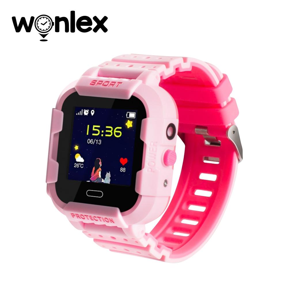 Ceas Smartwatch Pentru Copii Wonlex KT03 cu Functie Telefon, Localizare GPS, Camera, Pedometru, SOS, IP54 – Roz, Cartela SIM Cadou imagine
