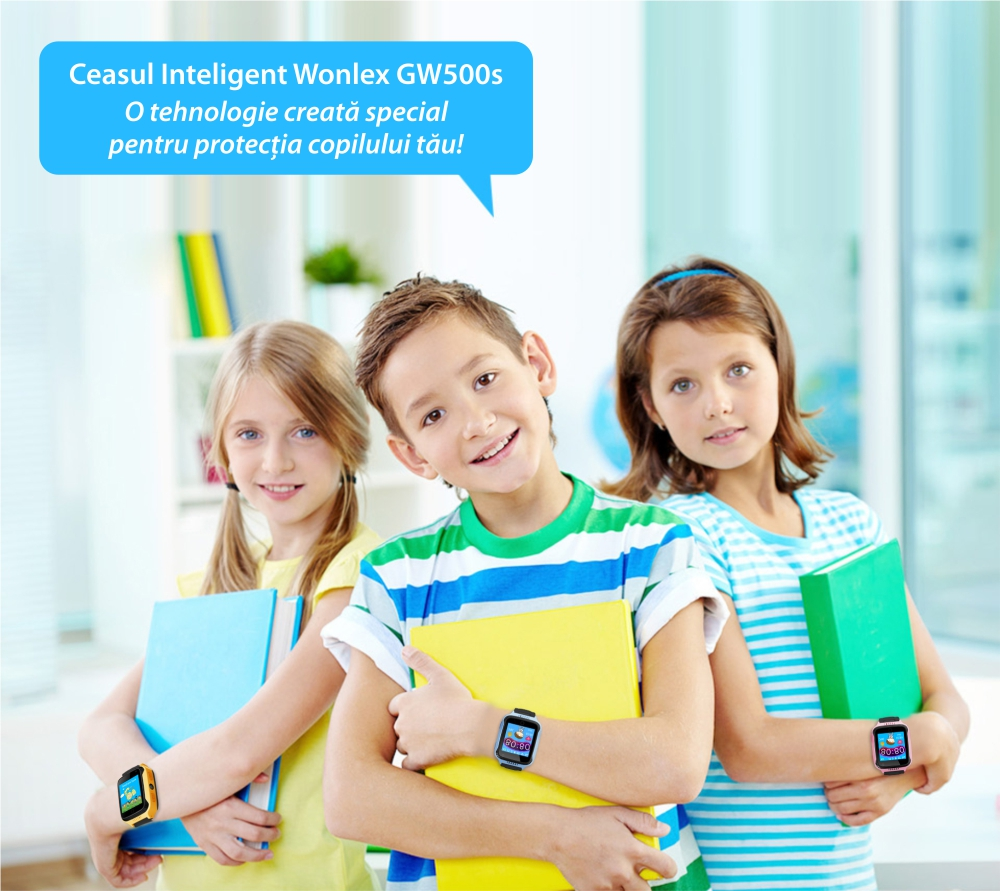 Ceas Smartwatch Pentru Copii Wonlex GW500s cu Functie Telefon, Localizare GPS, Camera, Lanterna, Pedometru, SOS – Albastru
