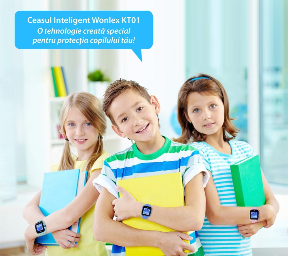 Ceas Smartwatch Pentru Copii Wonlex KT01 cu Functie Telefon, Localizare GPS, Camera, Pedometru, SOS, IP54 – Albastru, Cartela SIM Cadou