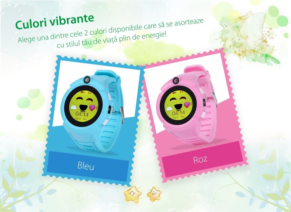 Ceas Smartwatch Pentru Copii Twinkler TKY-G610 cu Functie Telefon, Localizare GPS, Camera, Lanterna, Pedometru, SOS, Joc Matematic – Roz