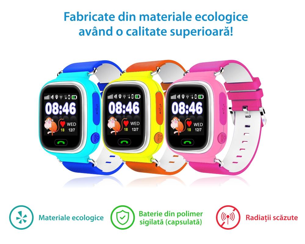 Ceas Smartwatch Pentru Copii Twinkler TKY-Q90 cu Functie Telefon, Localizare GPS, Pedometru, SOS, Joc Matematic – Bleu, Cartela SIM Cadou