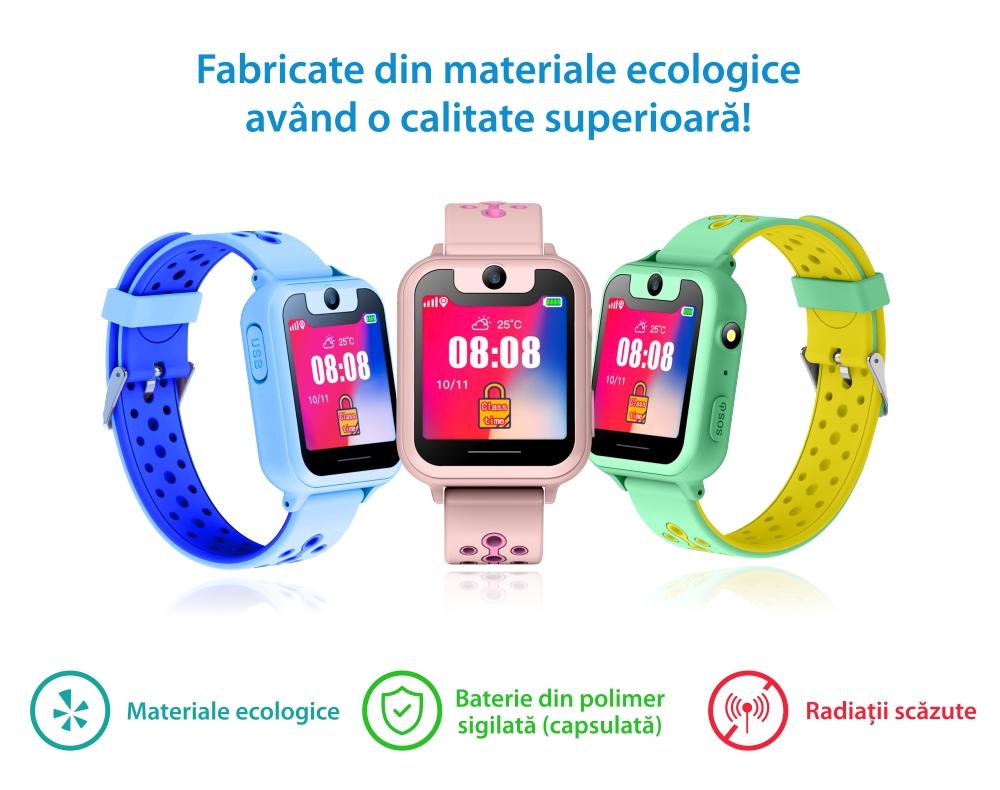 Ceas Smartwatch Pentru Copii Twinkler TKY-S6 cu Functie Telefon, Localizare GPS, Camera, Lanterna, Pedometru, SOS, Joc Matematic – Roz Pal, Cartela SIM Cadou
