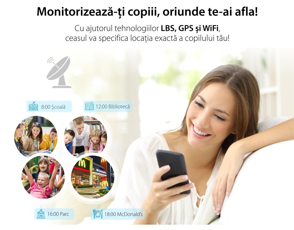 Ceas Smartwatch Pentru Copii Twinkler TKY-Q100 cu Functie Telefon, Localizare GPS, Pedometru, SOS, Detectie inlaturare ceas, Roz