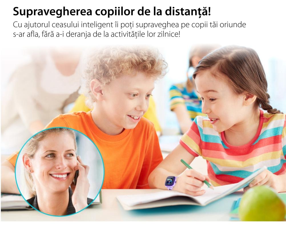 Ceas Smartwatch Pentru Copii Twinkler TKY-DF25 cu Functie Telefon, Localizare GPS, Pedometru, SOS, IP54 – Mov, Cartela SIM Cadou