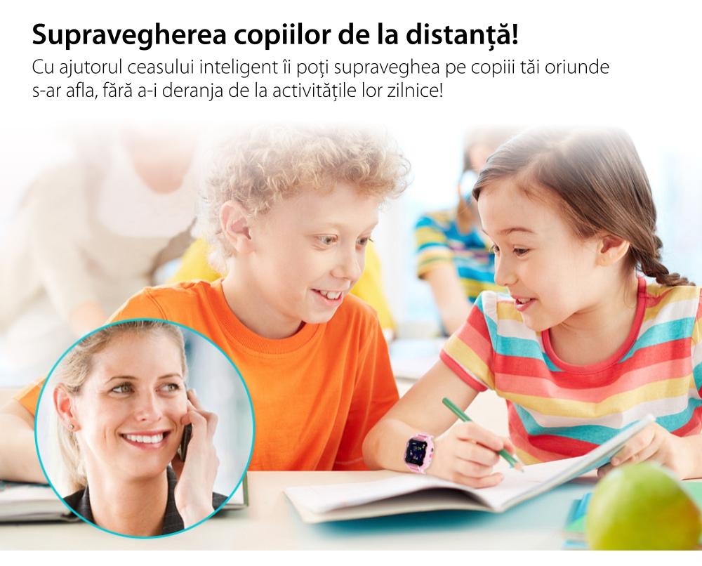 Ceas Smartwatch Pentru Copii Wonlex KT03 cu Functie Telefon, Localizare GPS, Camera, Pedometru, SOS, IP54 – Albastru, Cartela SIM Cadou