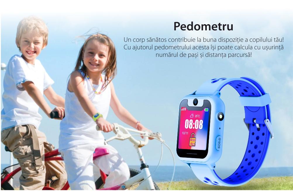 Pachet Promotional 2 Smartwatch-uri Pentru Copii Twinkler TKY-S6 cu Functie Telefon, Localizare GPS, Camera, Lanterna, Pedometru, SOS, Joc Matematic – Roz + Albastru, Cartela SIM Cadou
