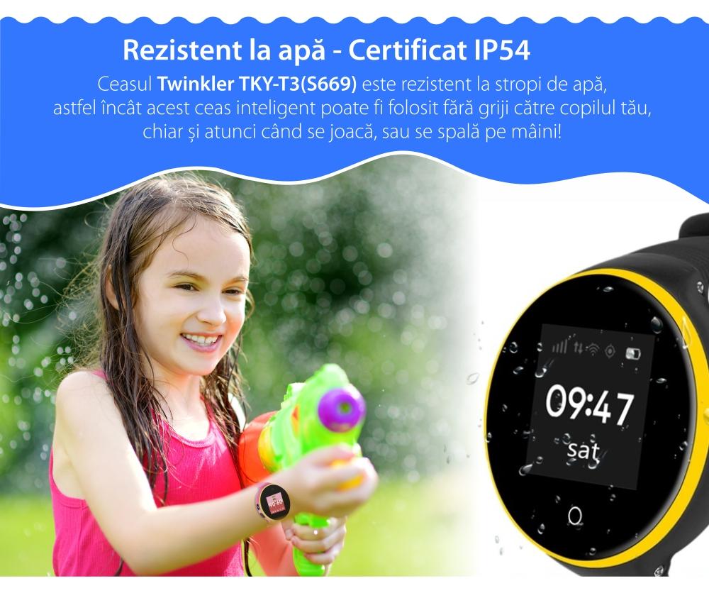 Ceas Smartwatch Pentru Copii Twinkler TKY-S669 cu Functie Telefon, Localizare GPS, Camera, Pedometru, SOS, Rezistent la apa – Turcoaz