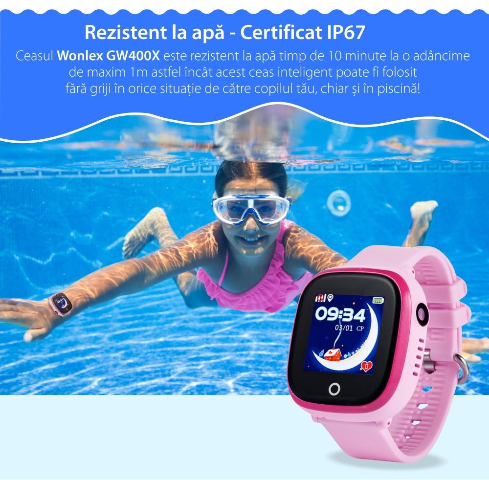 Ceas Smartwatch Pentru Copii Wonlex GW400X cu Functie Telefon, Localizare GPS, Camera, Pedometru, SOS, IP54 – Negru, Cartela SIM Cadou