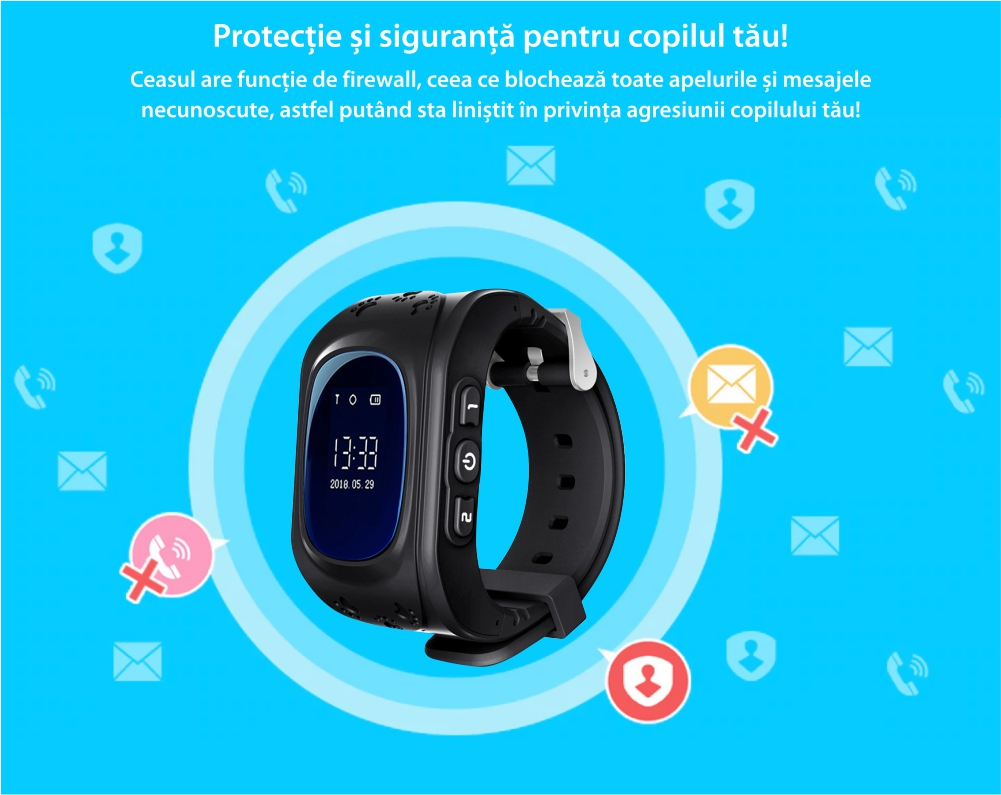 Ceas Smartwatch Pentru Copii Wonlex Q50 cu Functie Telefon, Localizare GPS, Pedometru, SOS – Alb
