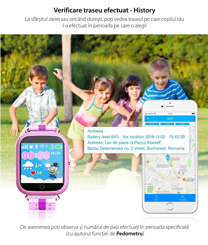 Ceas Smartwatch Pentru Copii Twinkler TKY-Q100 cu Functie Telefon, Localizare GPS, Pedometru, SOS, Detectie inlaturare ceas, Albastru
