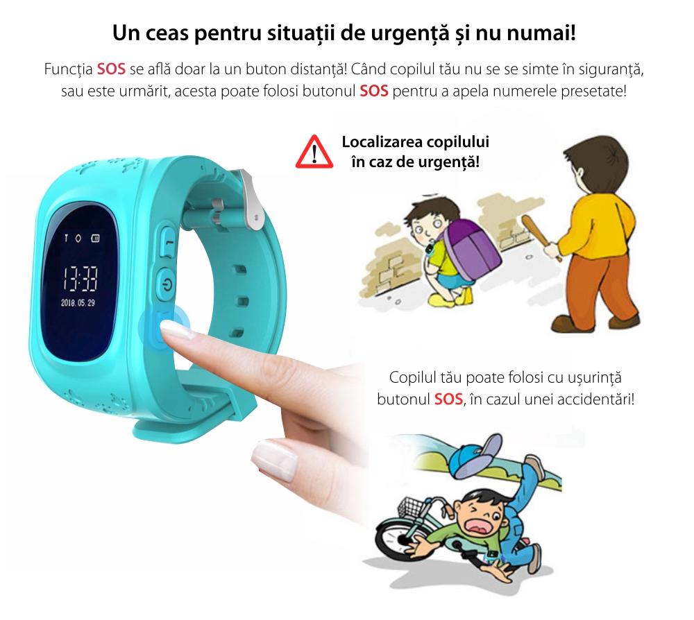 Pachet Promotional 2 Smartwatch-uri Pentru Copii Twinkler TKY-Q50 cu Functie Telefon, Localizare GPS, Pedometru, SOS – Roz + Turcoaz