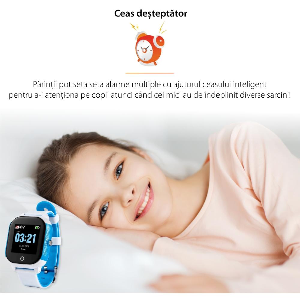 Ceas Smartwatch Pentru Copii Wonlex GW700S cu Functie Telefon, Localizare GPS, Pedometru, SOS, IP54 – Alb-Rosu, Cartela SIM Cadou