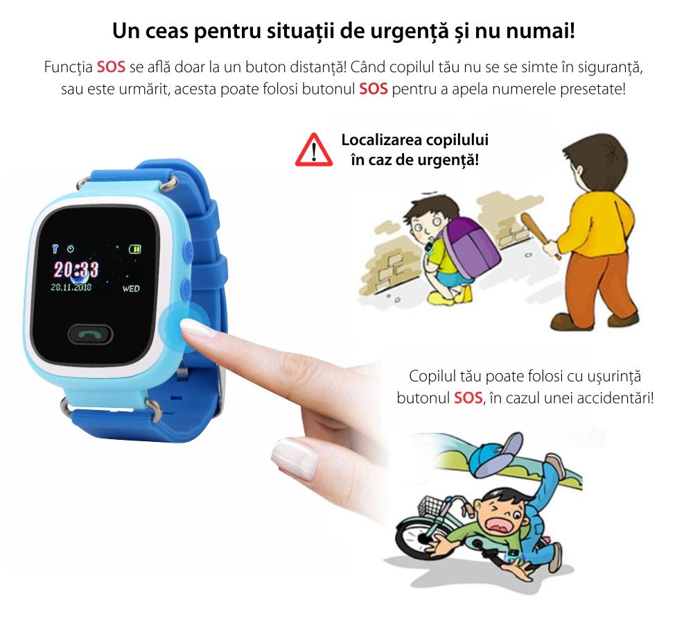 Ceas Smartwatch Pentru Copii Wonlex GW900S cu Functie Telefon, Localizare GPS, Pedometru, SOS – Negru, Cartela SIM Cadou