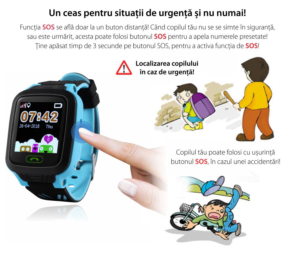 Ceas Smartwatch Pentru Copii Wonlex GW800 cu Functie Telefon, Localizare GPS, Pedometru, SOS, IP54 – Albastru