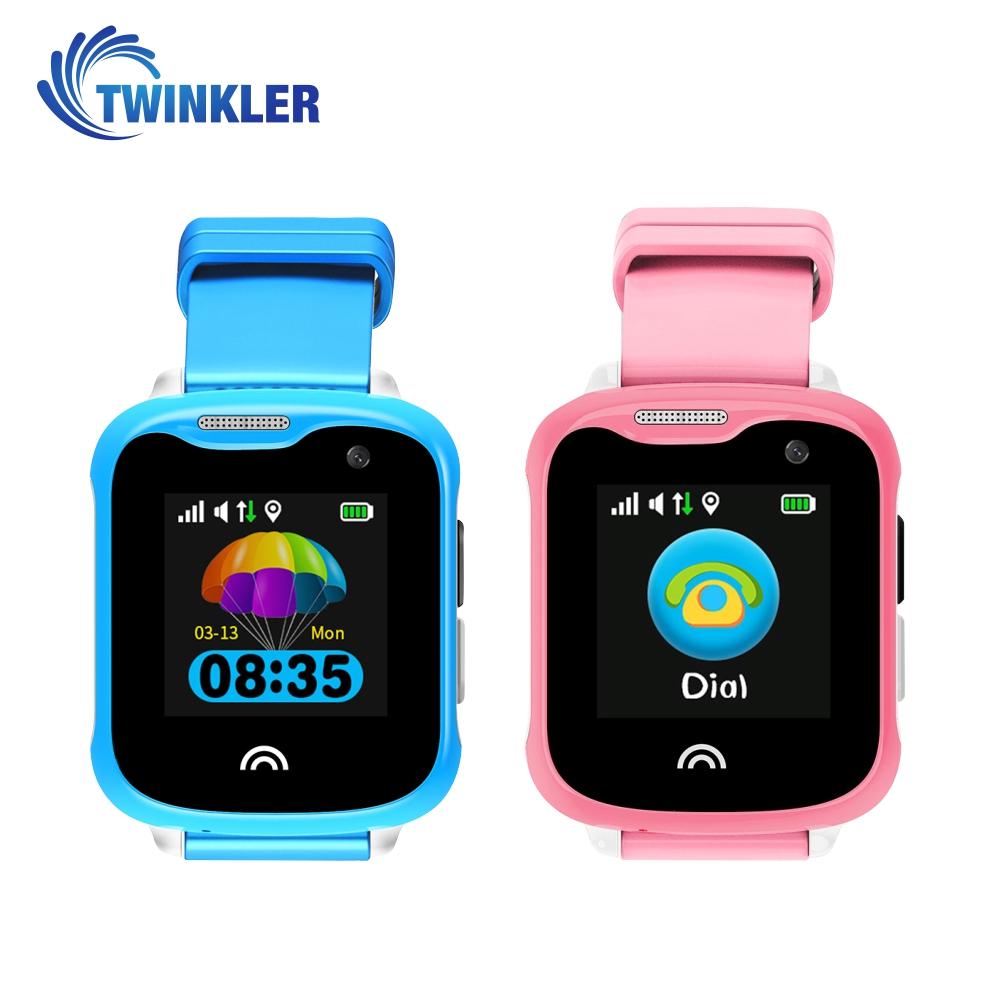 Pachet Promotional 2 Smartwatch-uri Pentru Copii Twinkler TKY-D7 cu Functie Telefon, Localizare GPS, Camera, Pedometru, IP67 – Roz + Albastru, Cartela SIM Cadou imagine