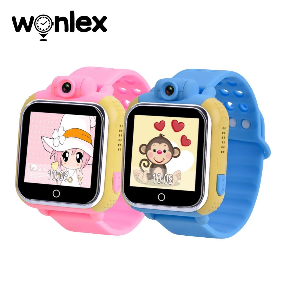 Pachet Promotional 2 Smartwatch-uri Pentru Copii Wonlex GW1000 cu Functie Telefon, Localizare GPS, Camera, 3G, Pedometru, SOS, Android – Roz + Albastru, Cartela SIM Cadou imagine