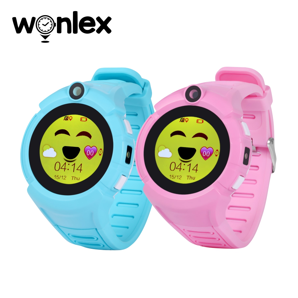 Pachet Promotional 2 Smartwatch-uri Pentru Copii Wonlex GW600-Q360 cu Functie Telefon, Localizare GPS, Camera, Lanterna, Pedometru, SOS – Roz + Bleu imagine