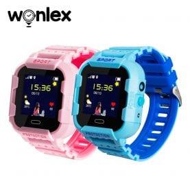 Pachet Promotional 2 Smartwatch-uri Pentru Copii Wonlex KT03 cu Functie Telefon, Localizare GPS, Camera, Pedometru, SOS, IP67 – Roz + Albastru