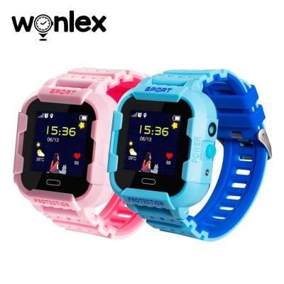 Pachet Promotional 2 Smartwatch-uri Pentru Copii Wonlex KT03 cu Functie Telefon, Localizare GPS, Camera, Pedometru, SOS, IP54 – Roz + Albastru, Cartela SIM Cadou