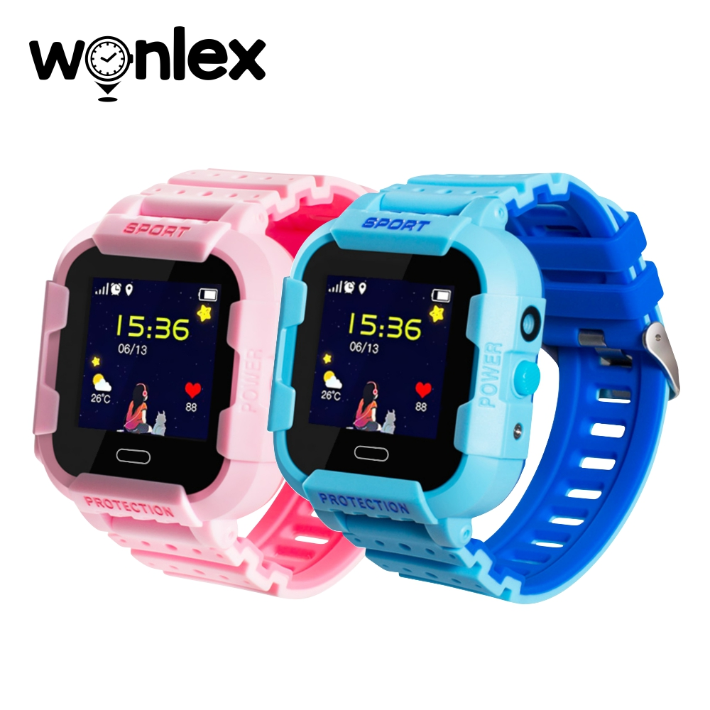 Pachet Promotional 2 Smartwatch-uri Pentru Copii Wonlex KT03 cu Functie Telefon, Localizare GPS, Camera, Pedometru, SOS, IP54 – Roz + Albastru, Cartela SIM Cadou imagine