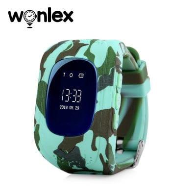 Ceas Smartwatch Pentru Copii Wonlex Q50 cu Functie Telefon, Localizare GPS – Camuflaj Verde, Cartela SIM Cadou