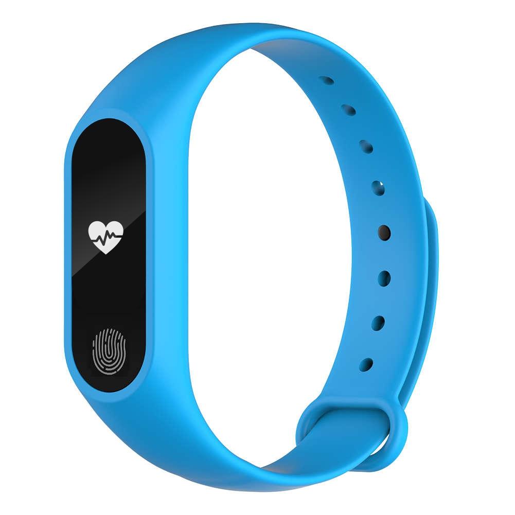 Bratara fitness inteligenta M2 cu masurarea tensiunii arteriale, Ritm cardiac, Pedometru, Bluetooth, IP67, Albastra imagine