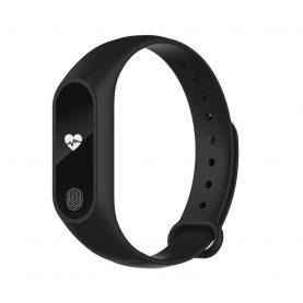Bratara fitness inteligenta M2 cu masurarea tensiunii arteriale si a ritmului cardiac, Neagra