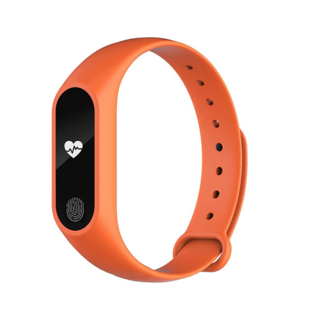 Bratara fitness inteligenta M2 cu masurarea tensiunii arteriale, Ritm cardiac, Pedometru, Bluetooth, IP67, Portocalie imagine