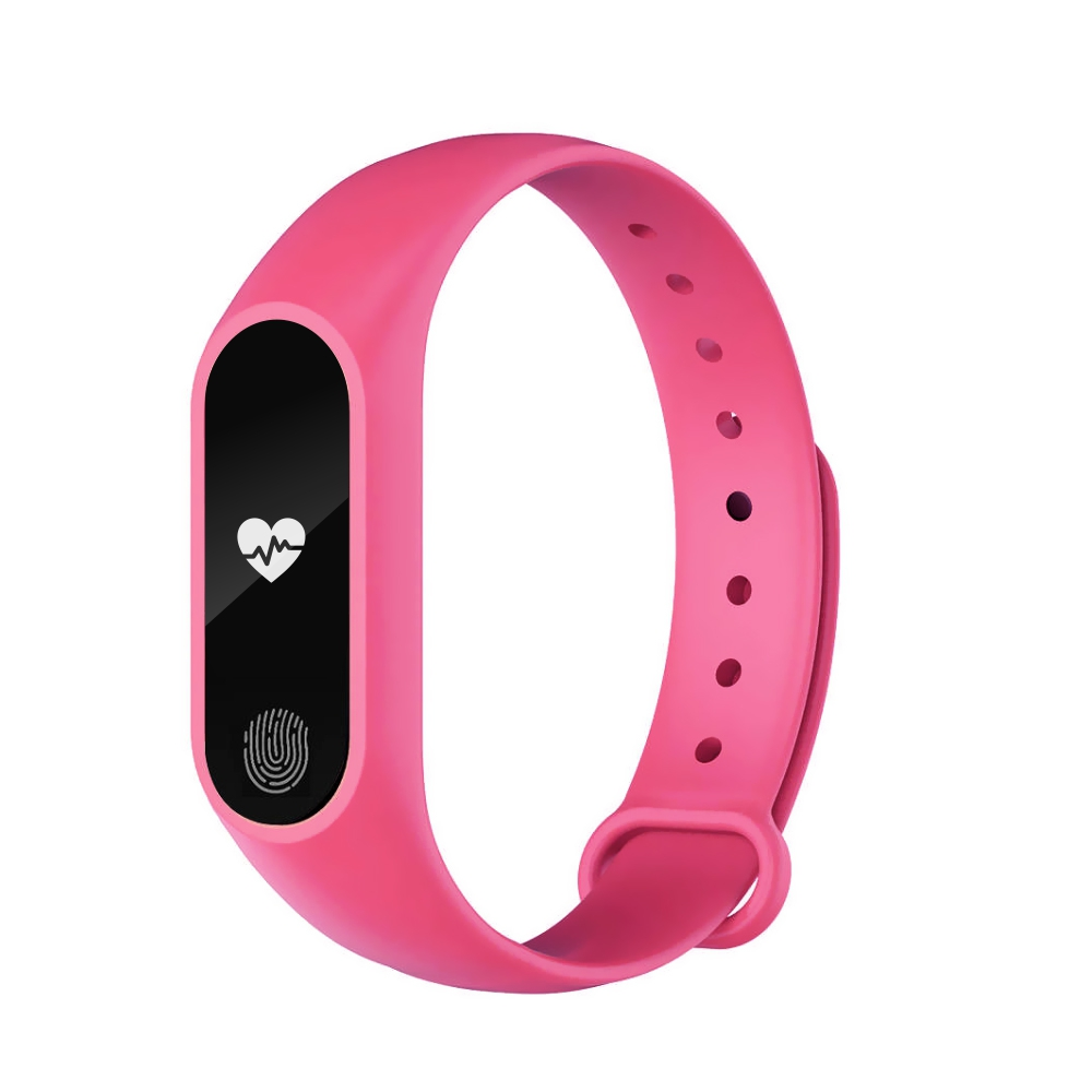 Bratara fitness inteligenta M2 cu masurarea tensiunii arteriale, Ritm cardiac, Pedometru, Bluetooth, IP67, Roz imagine