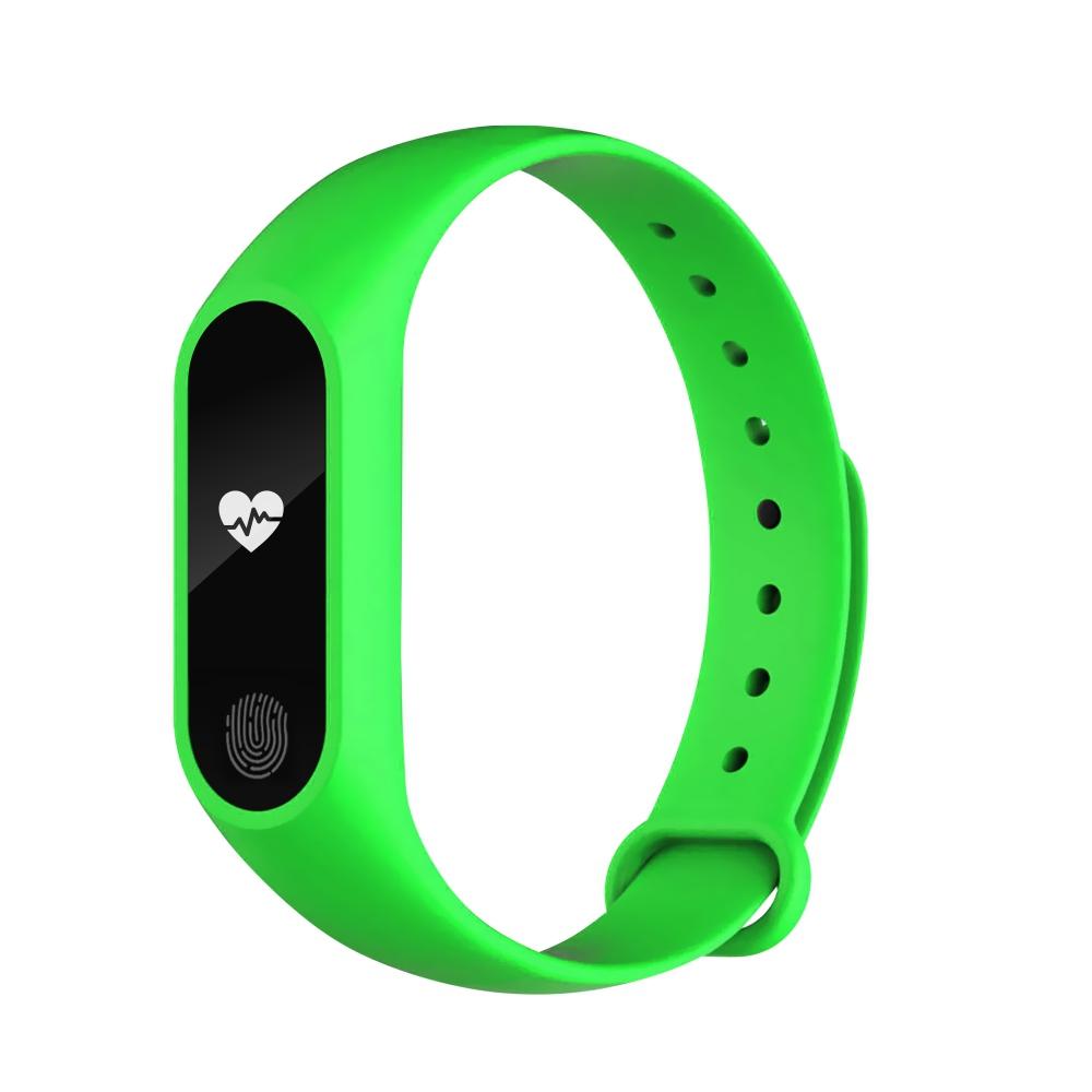 Bratara fitness inteligenta M2 cu masurarea tensiunii arteriale, Ritm cardiac, Pedometru, Bluetooth, IP67, Verde imagine
