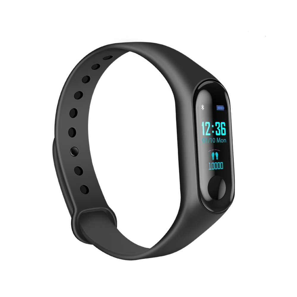 Bratara fitness inteligenta M3 cu masurarea tensiunii arteriale, Ritm cardiac, Notificari, Pedometru, Bluetooth – Neagra imagine