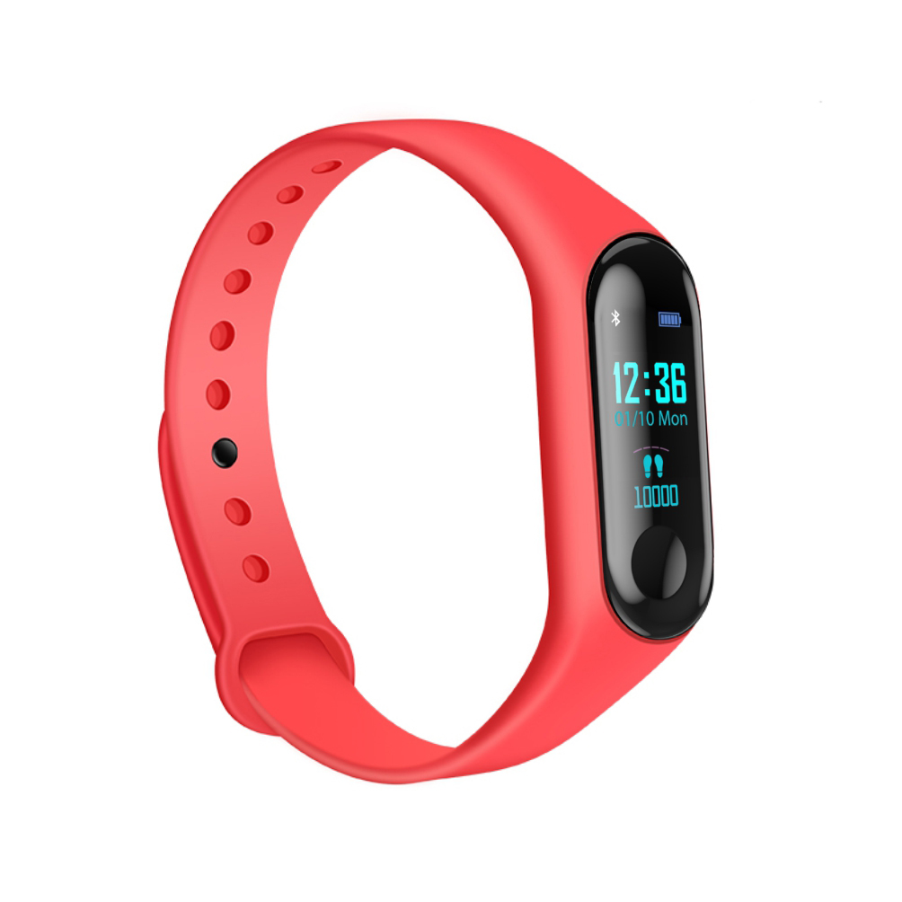Bratara fitness inteligenta M3 cu masurarea tensiunii arteriale, Ritm cardiac, Notificari, Pedometru, Bluetooth – Rosie imagine