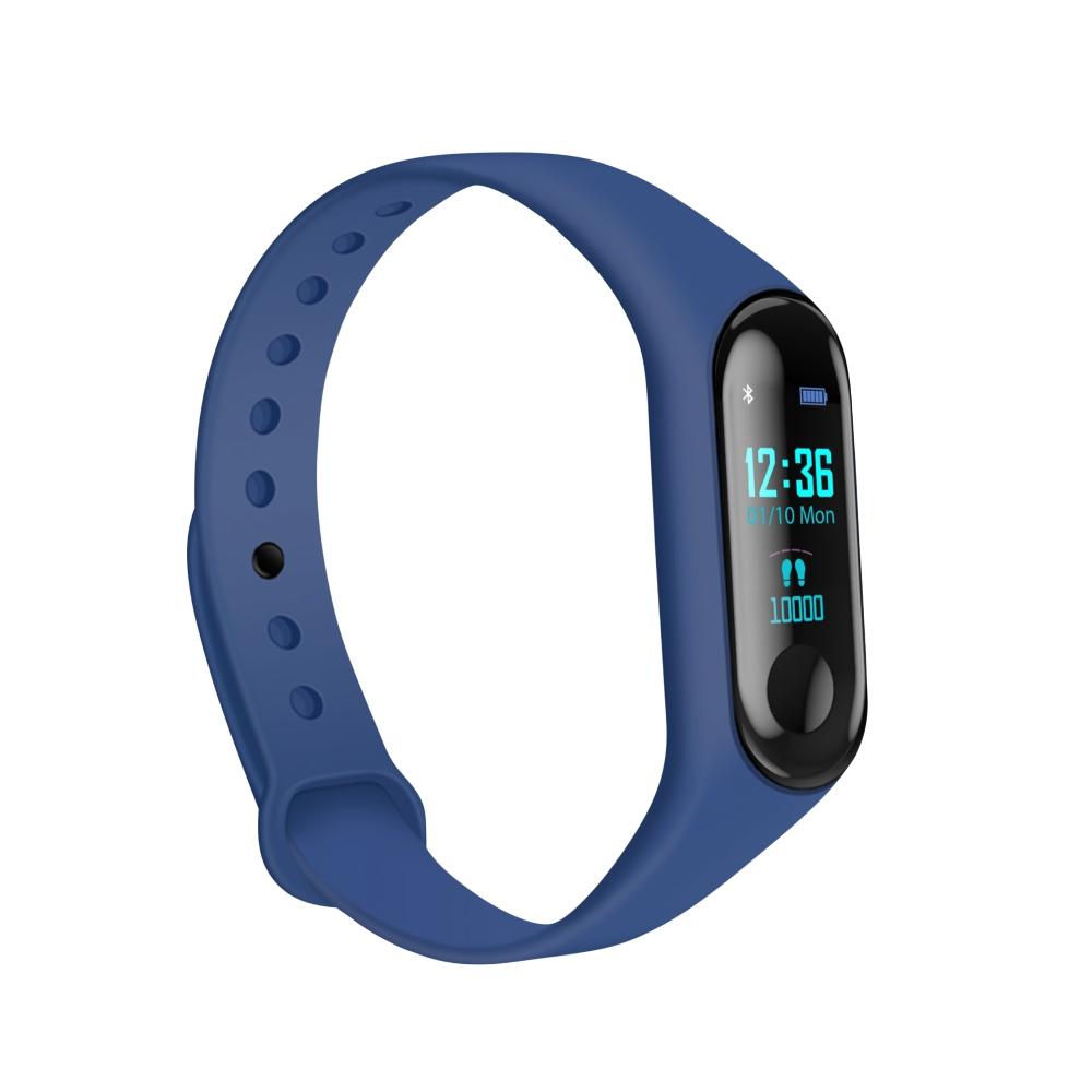 Bratara fitness inteligenta M3 cu masurarea tensiunii arteriale, Ritm cardiac, Notificari, Pedometru, Bluetooth – Albastra imagine